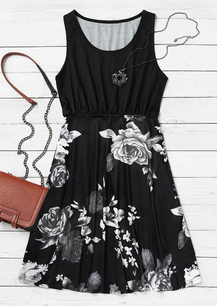 Floral Ruffled Sleeveless Mini Dress - Black