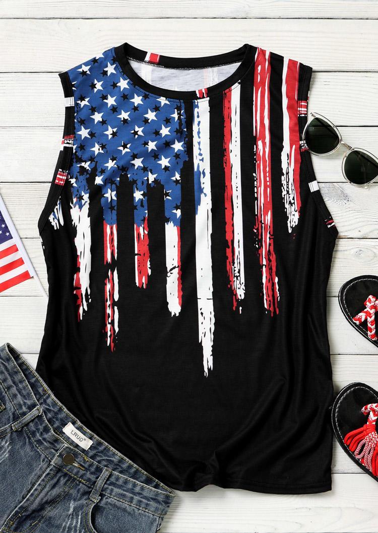 American Flag Star Striped Casual Tank - Black