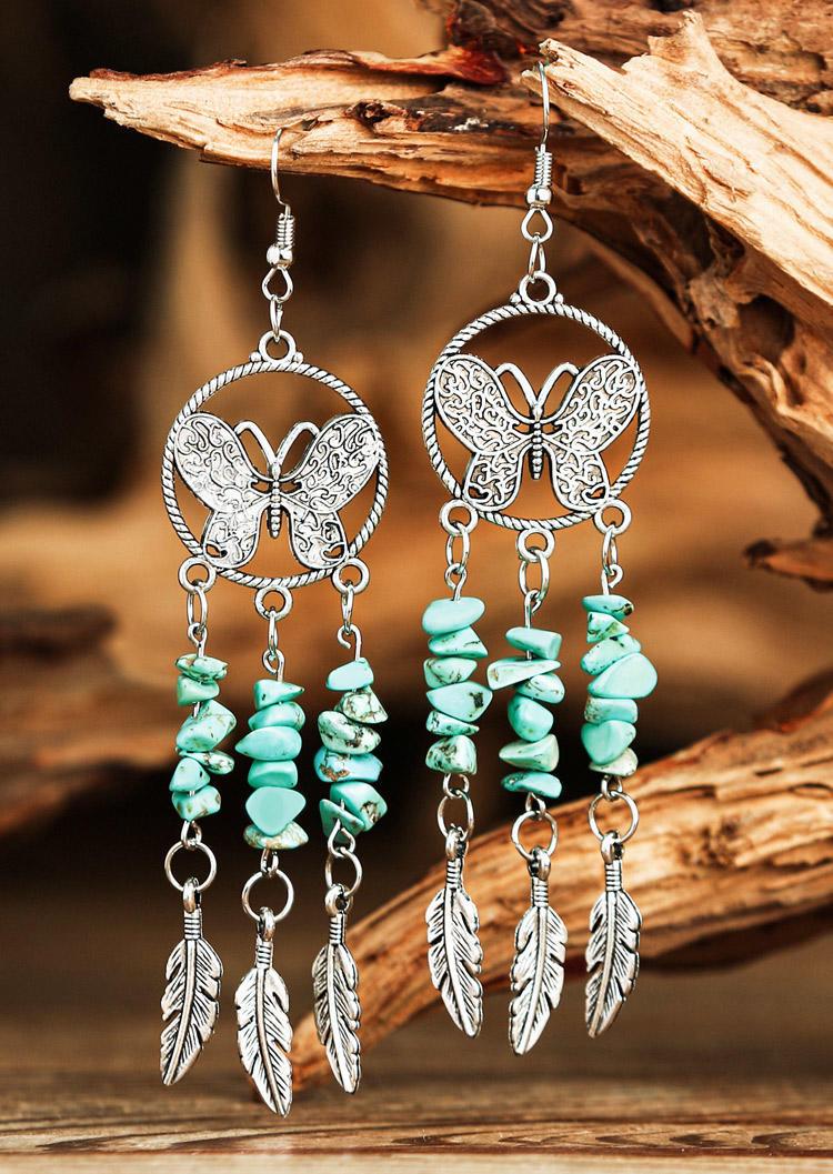 Butterfly Turquoise Feather Tassel Drop Earrings - Cyan