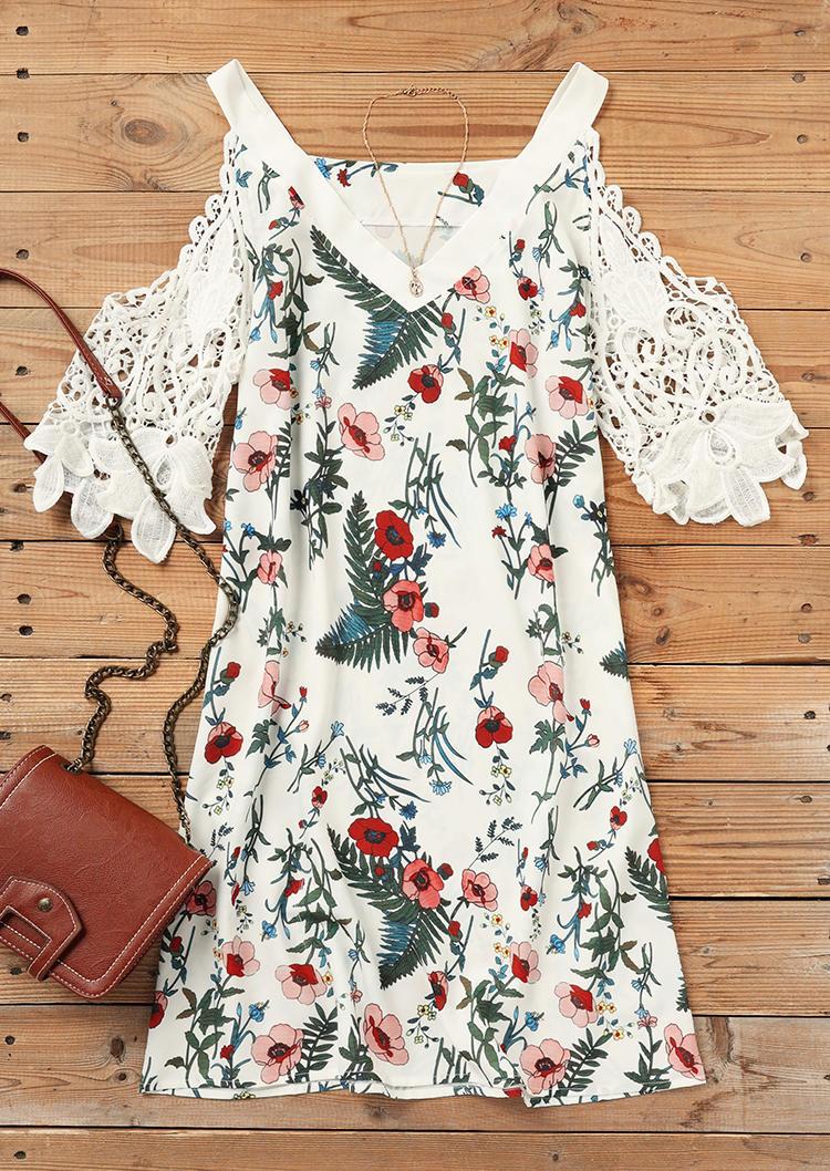 Floral Leaf Lace Splicing Cold Shoulder Mini Dress - White