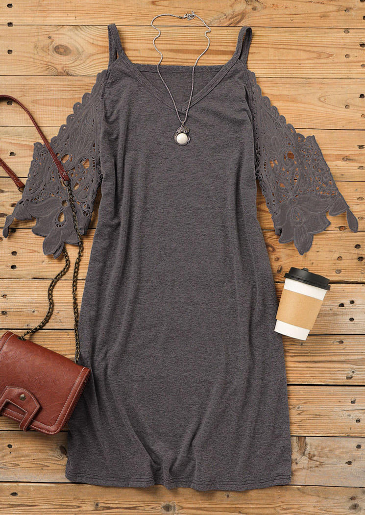 Lace Splicing Cold Shoulder Mini Dress - Gray