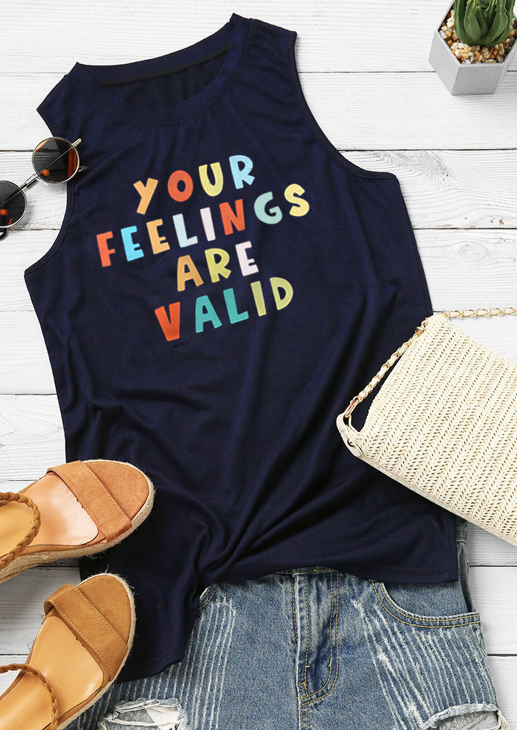 Your Feelings Are Valid Casual Tank - Deep Blue