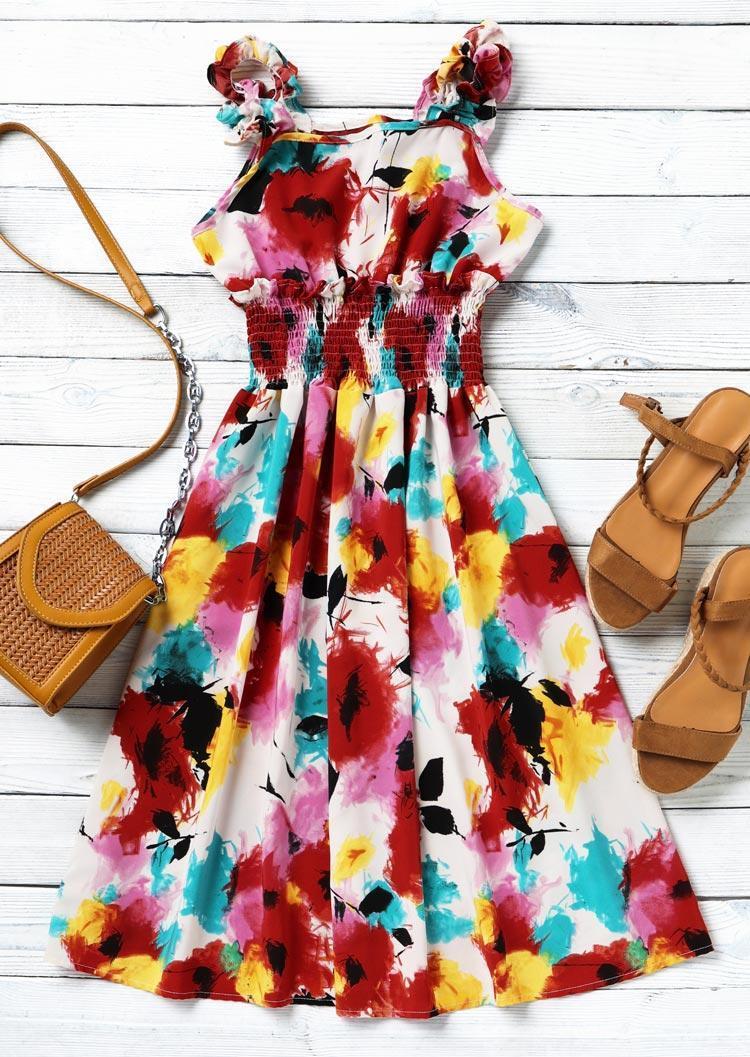Print Smocked Sleeveless Ruffled Mini Dress