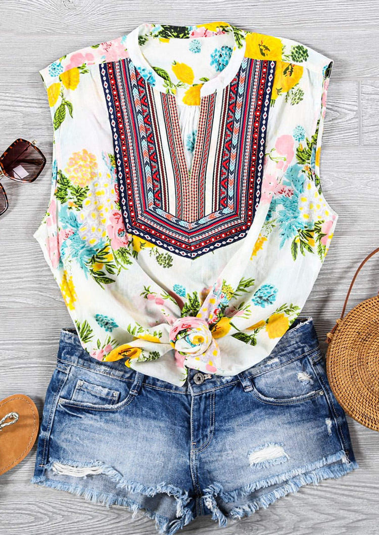 Ethnic Style Floral Casual Tank