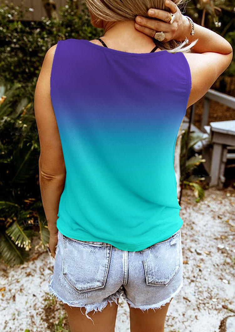 Gradient Butterfly Notched Neck Tank