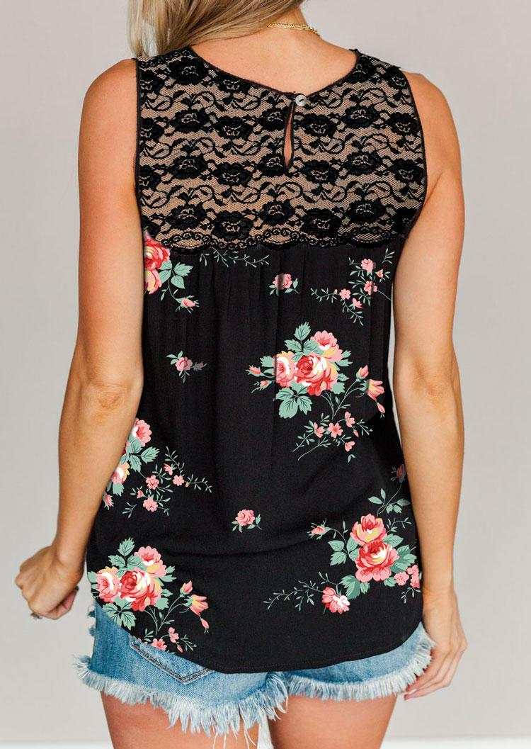 Floral Lace Mesh Splicing Tank - Black