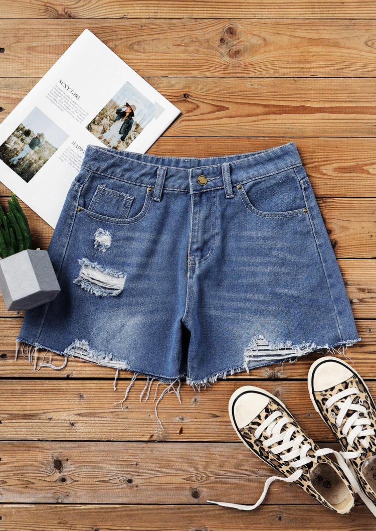 Ripped Hole Frayed Hem Pocket Denim Shorts - Blue