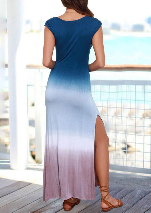 Gradient Color Block Slit O-Neck Maxi Dress