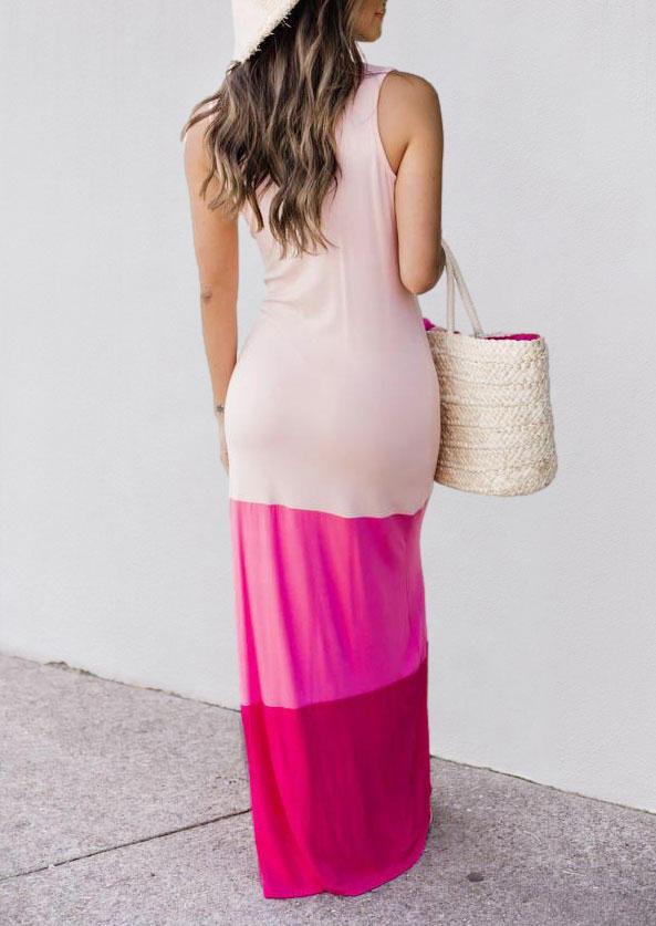 Color Block Sleeveless O-Neck Maxi Dress