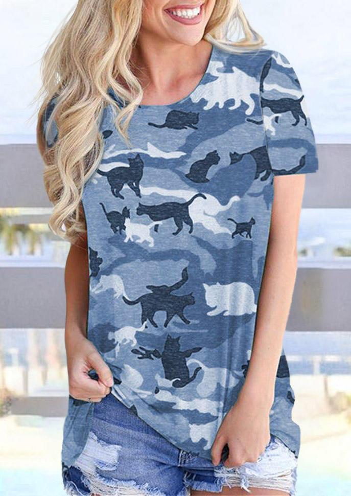 Camouflage O-Neck Blouse
