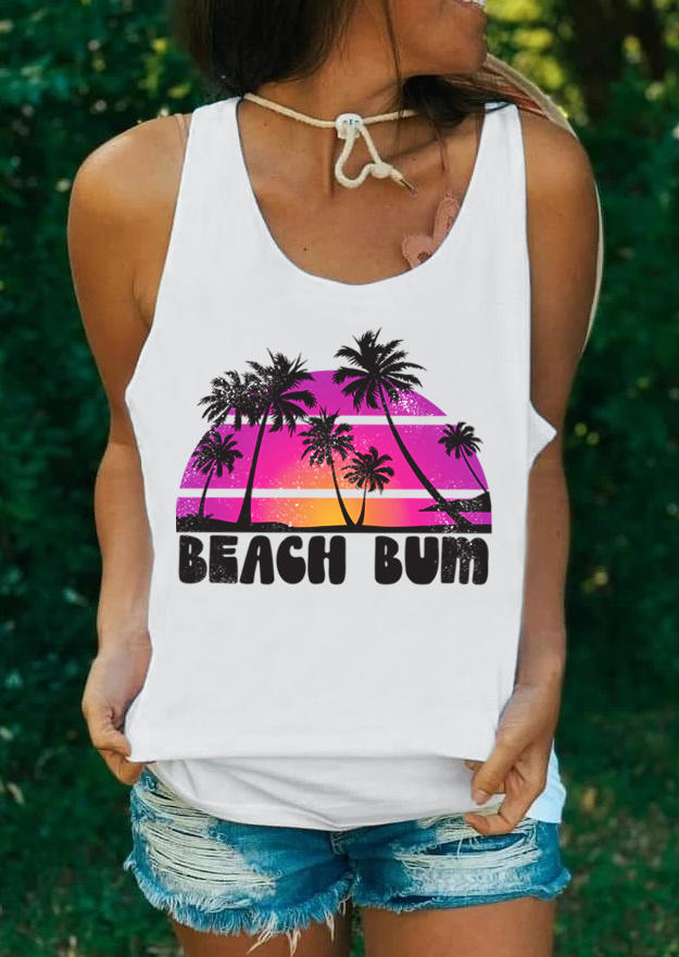 Beach Bum Palm Tree Racerback Tank - White