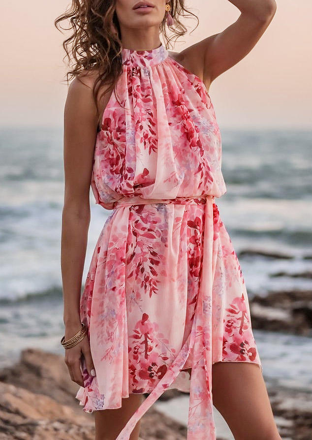 Floral Ruffled Halter Sleeveless Mini Dress - Pink