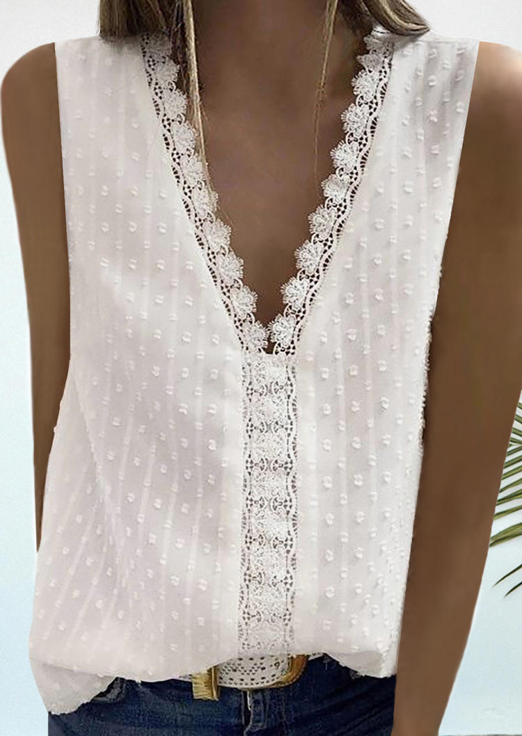 Lace Dotted Swiss V-Neck Tank - White