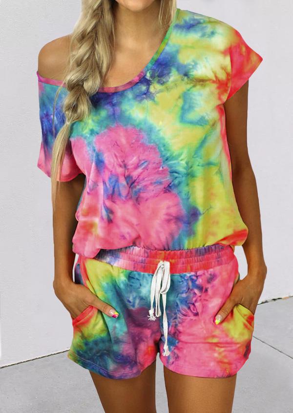 Tie Dye Blouse And Drawstring Pocket Shorts Two-Piece Set