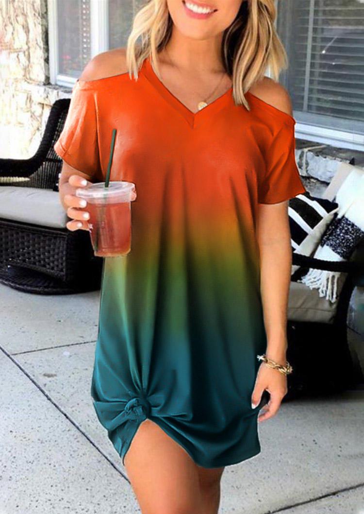 Gradient Color Block Cold Shoulder V-Neck Mini Dress