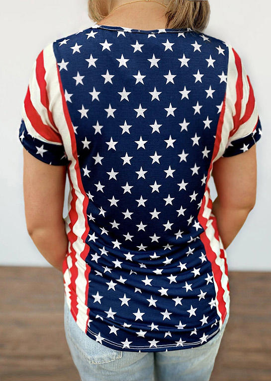 American Flag Star Striped O-Neck Blouse