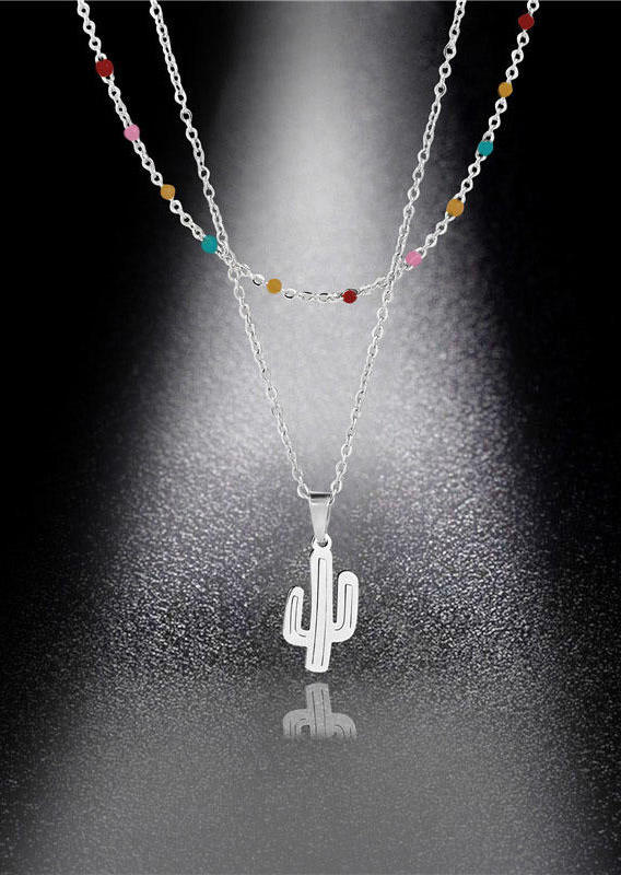 Western Cactus Colorful Beading Dual-Layered Necklace