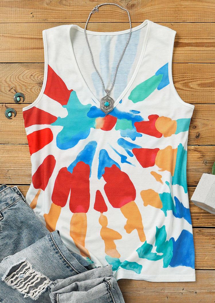 Colorful Swirl Sleeveless Casaul Tank