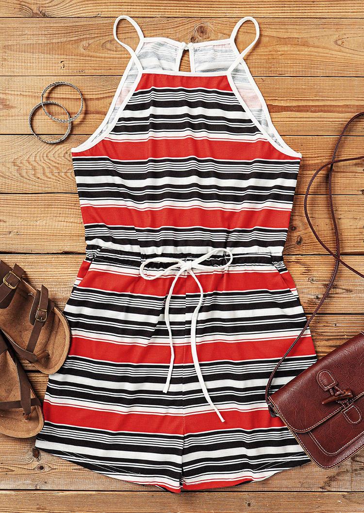 Striped Drawstring Pocket Romper