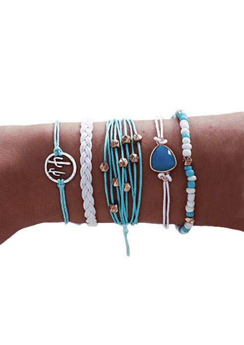 5Pcs Bohemian Beading Cactus Braided Bracelet