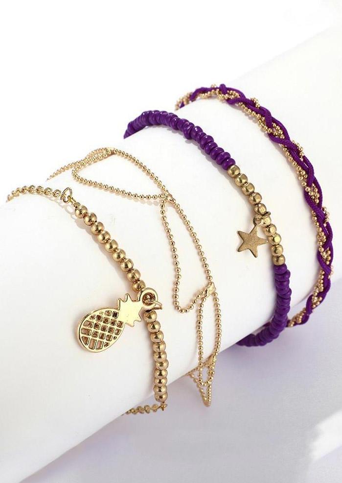 4Pcs Pineapple Star Pendant Beading Bracelet Set