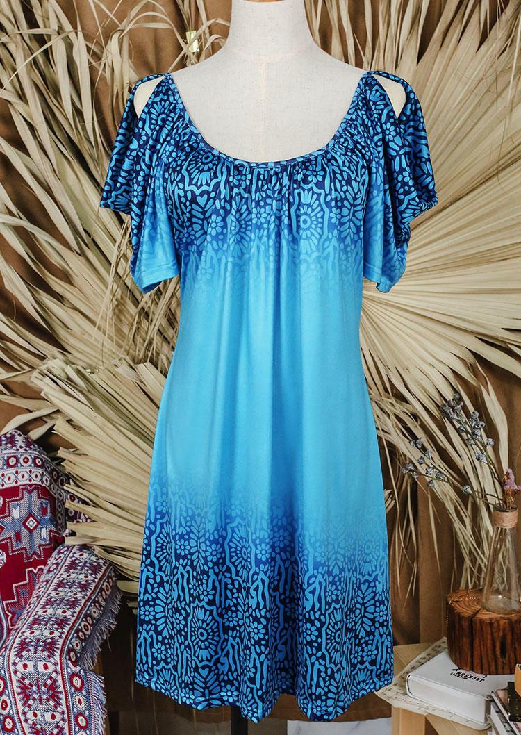Turquoise ColdShoulder Mini Dress - Blue