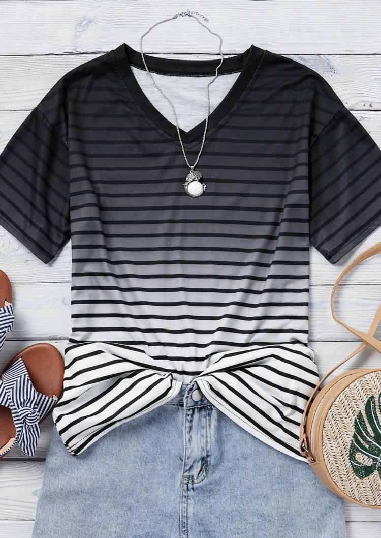Gradient Striped V-Neck Blouse - Black