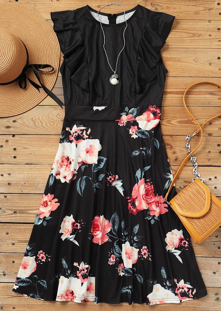 Floral Ruffled O-Neck Mini Dress - Black