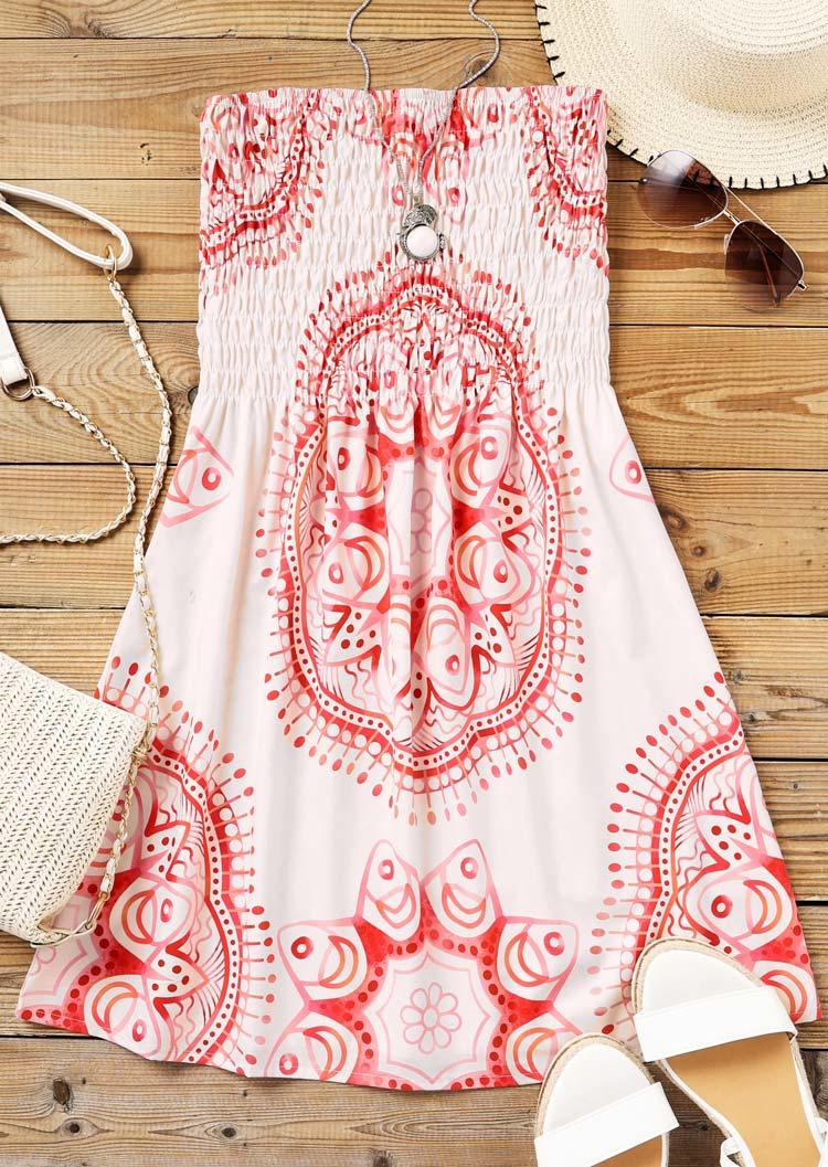 Mandala Smocked Strapless Mini Dress