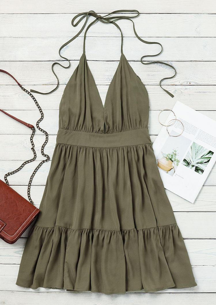 Ruffled Open Back Tie Halter V-Neck Mini Dress - Army Green