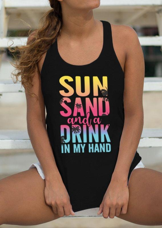 Sun Sand And A Drink In My Hand Racerback Tank - Black