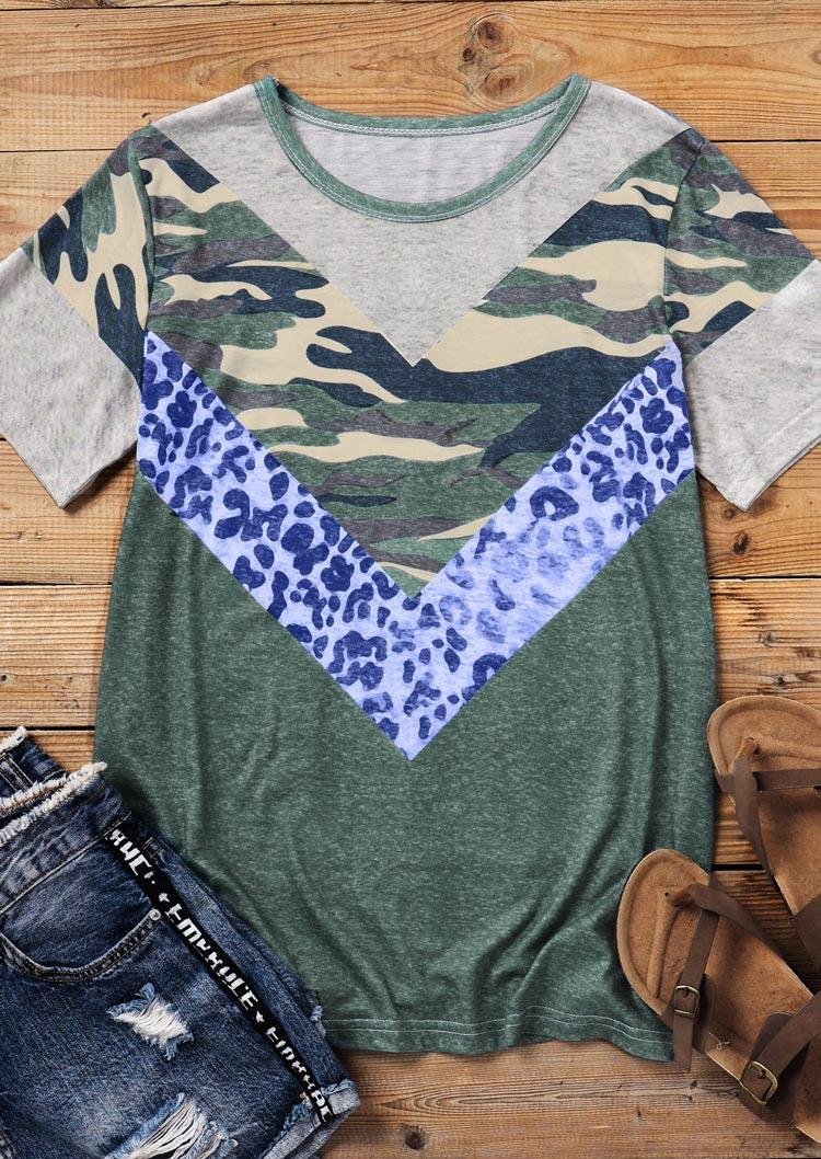 Camouflage Leopard Color Block O-Neck Blouse