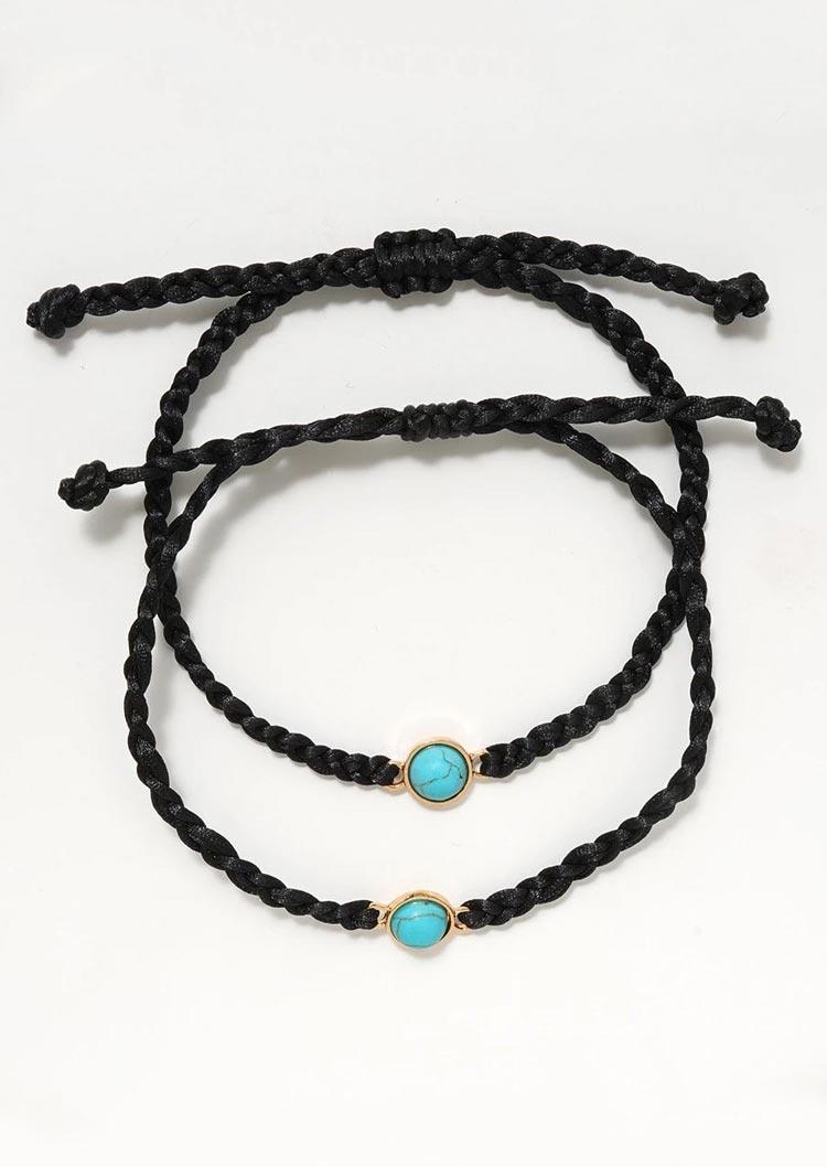 2Pcs Turquoise Promise Distance Matching Friendship Bracelet Set