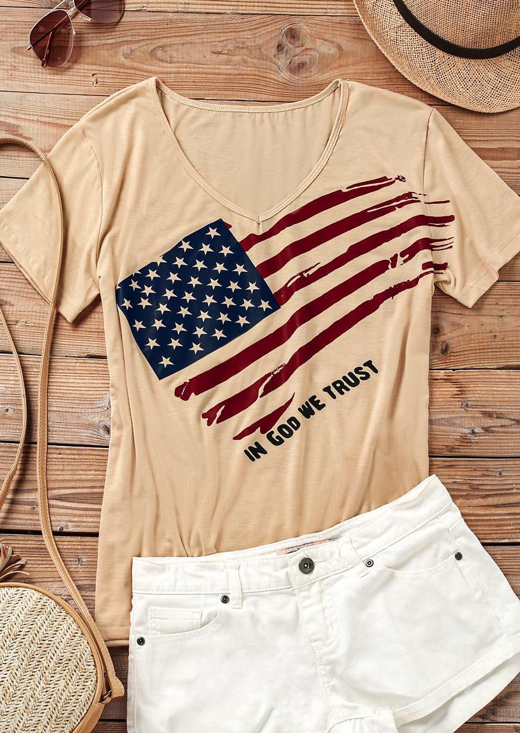 American Flag Star Striped In God We Trust T-Shirt Tee - Khaki