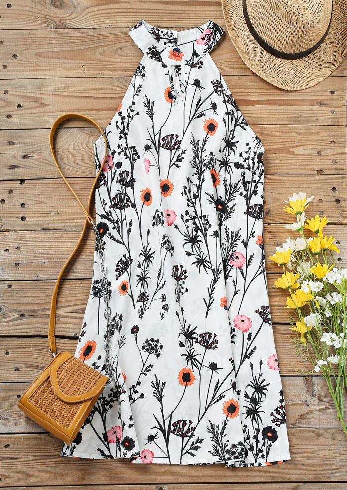 Floral Hollow Out Keyhole Neck Mini Dress - White