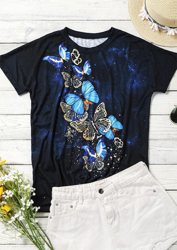 Butterfly Starry Sky Short Sleeve T-Shirt Tee - Black