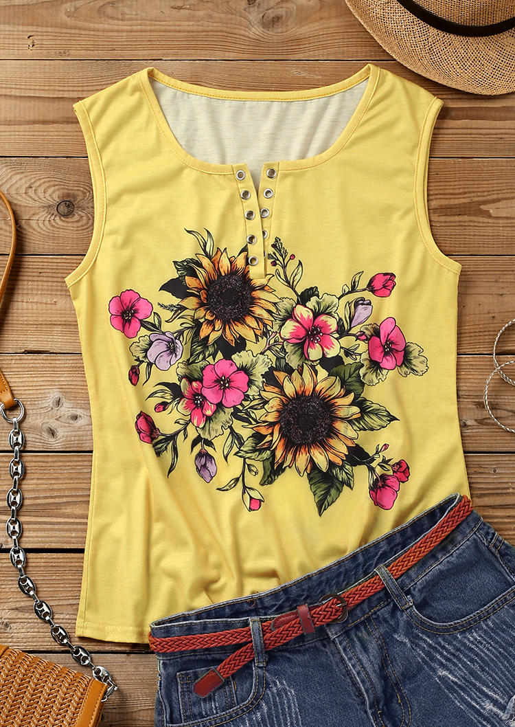 Sunflower Notched Neck Tank without Black Camisole - Yellow