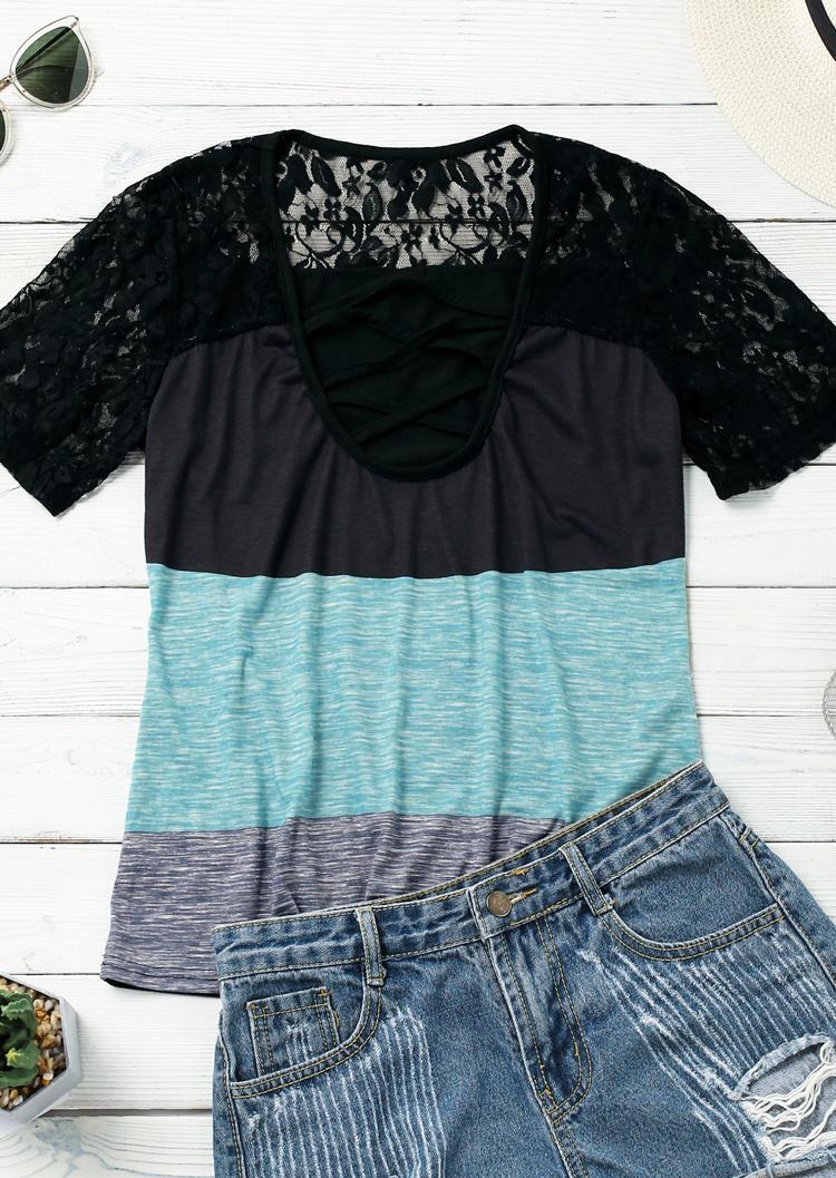 Color Block Criss-Cross Lace Splicing Blouse