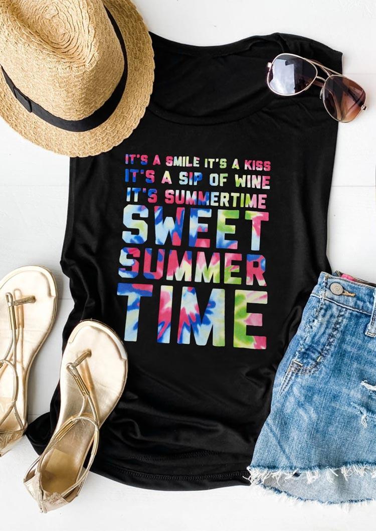 Sweet Summer Time Tie Dye Letter Tank - Black