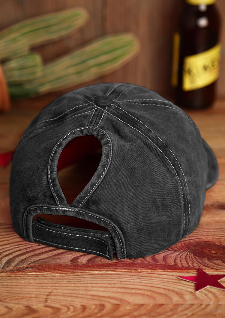 Star Hollow Out Washed Distressed Baseball Cap