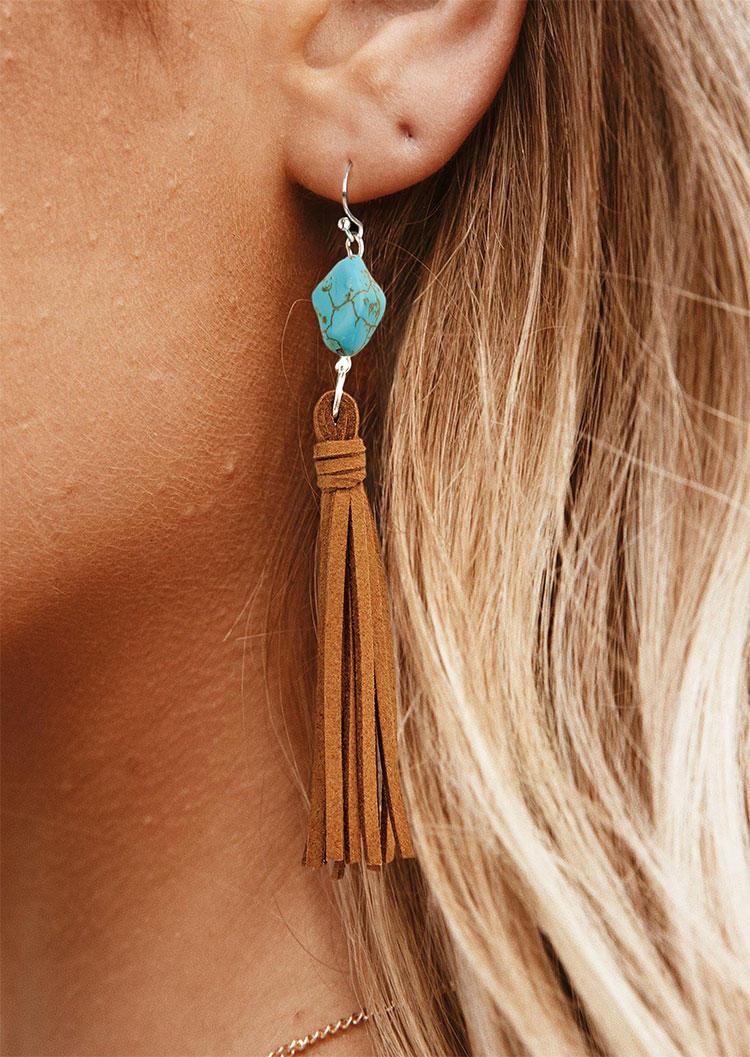 Vintage Turquoise Tassel Drop Earrings