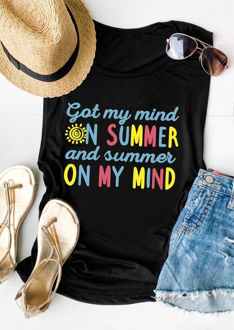 Got My Mind On Summer And Summer On My Mind Tank - Black