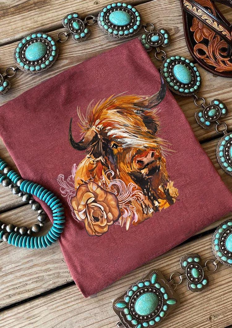 Western Cow Floral T-Shirt Tee - Cameo Brown