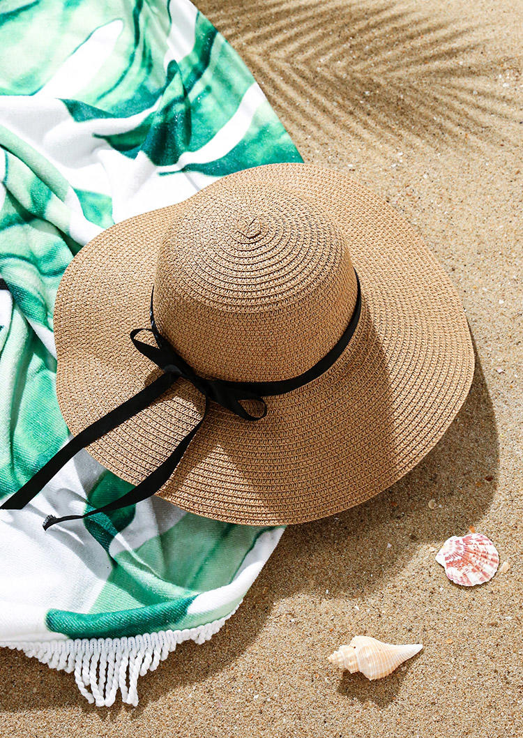 Bowknot Sun Visor Rolled Up Wide Brim Straw Hat
