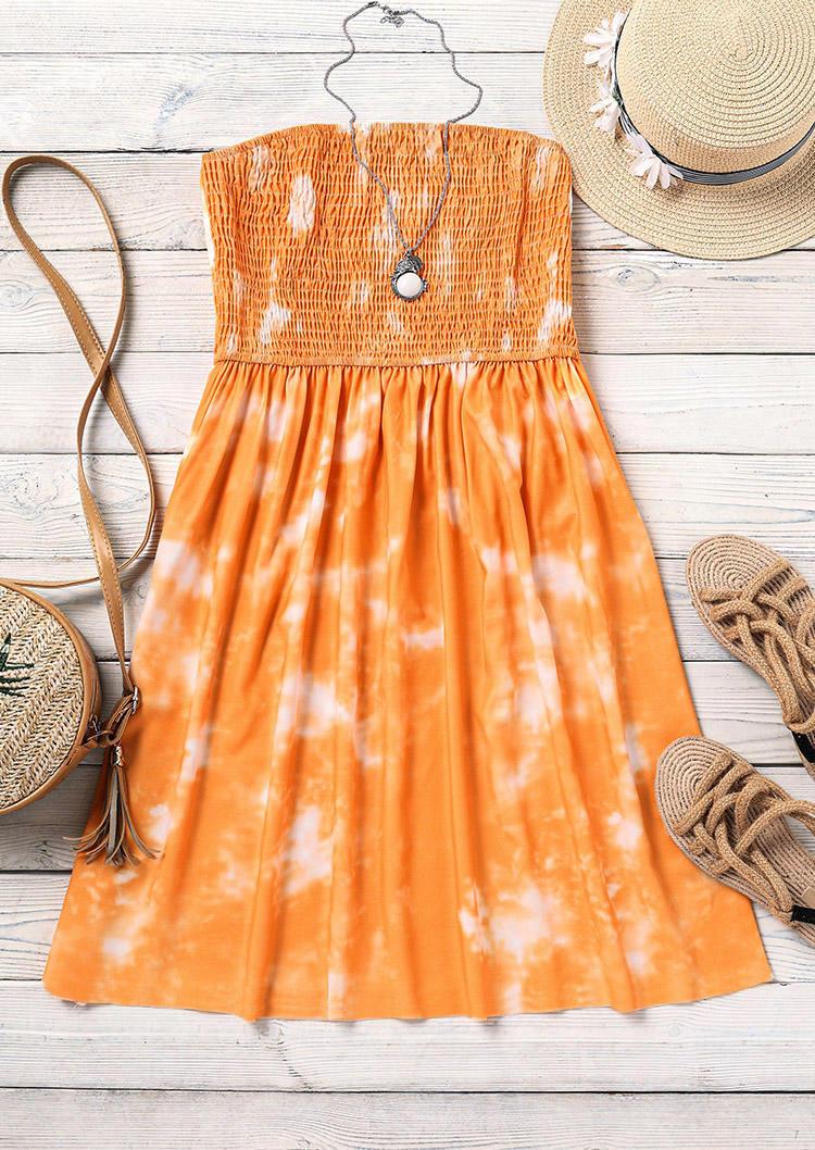 Tie Dye Ruffled Smocked Strapless Mini Dress