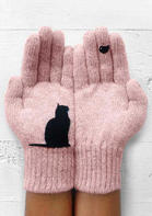 Winter Warm Black Cat Bird Knitted Gloves