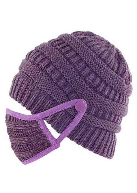 2Pcs Winter Button Knitted Beanie Hat And Mouth Shield Set