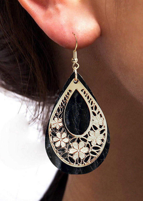 Hollow Out Floral Water Drop Leather Earrings