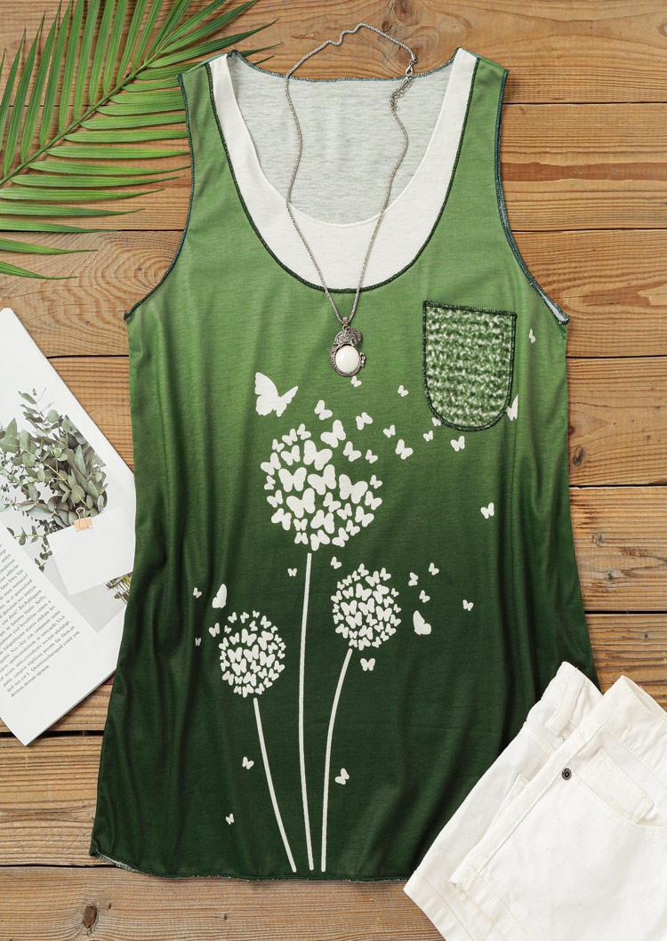 Dandelion Butterfly Pocket Casual Tank - Green