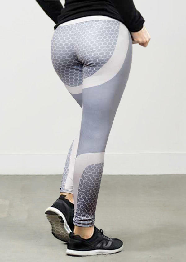 Honeycomb Yoga Fitness Activewear Leggings - Gray